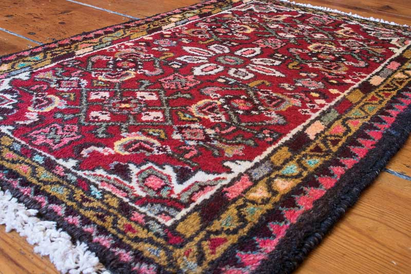 persian hamadan rug with red, blue & green